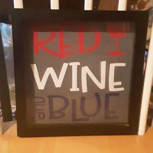 Wall Picture. Red Wine and Blue
